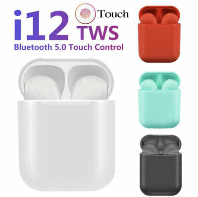 i12 TWS WIRELESS AIR PODS BLUETOOTH 5.0 EARPHONES TOUCH CONTROL EARBUDS