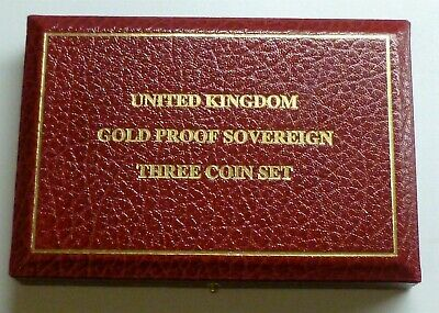 Gold Proof Sovereign 3-coin Set Royal Mint Empty Box (NO COINS) with medallion