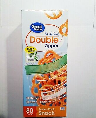2 PACK Snap Zipper Snack Bags 50 Ct  Free Shipping 18593-2