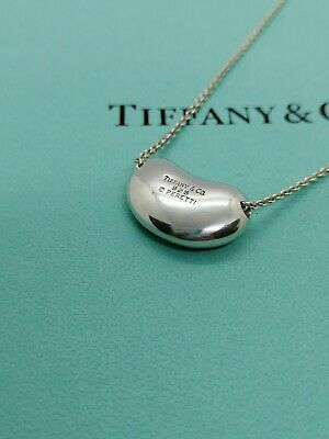Authentic Tiffany & Co. Elsa Peretti Bean Necklace Sterling Silver 16inch
