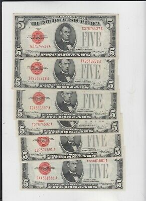 United states note $5 1928's 6 notes  ef