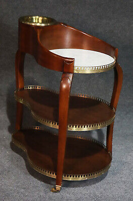 Incredible Solid Mahogany & Brass English Regency Wine & Cheese Trolley Cart
