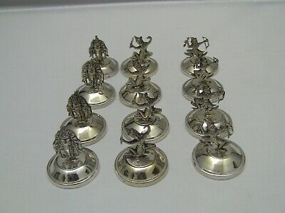 Siam Sterling Silver Weighted Figural Place Card Holders / Set of 12
