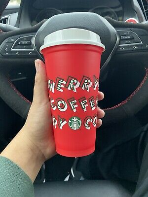 Starbucks 2019 Holiday Reusable Red Hot Cup Grande 16 oz Plastic Coffee
