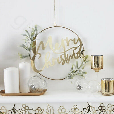 Gold Acrylic Merry Christmas Door Wreath With Foliage Xmas Garland Decorations