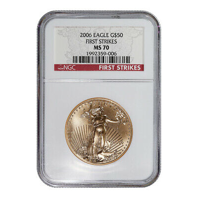 Certified American $50 Gold Eagle 2006 MS70 NGC First Strikes