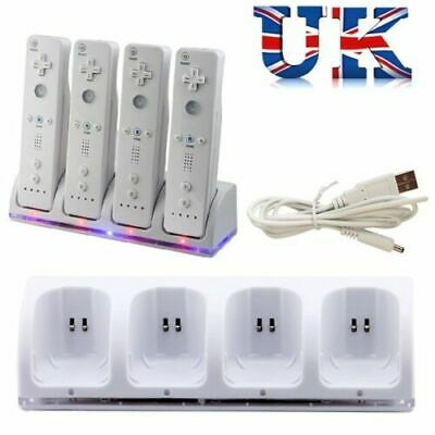 4x Rechargeable Batteries Pack + Controller Charger Dock Station For Wii Remote