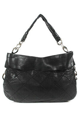 Chanel Black Leather Silver Tone Chain Link Detail Quilted Hobo Handbag