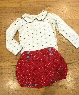 BABY BODEN Christmas Red Spotty Bloomers & Top EXCOND 18-24