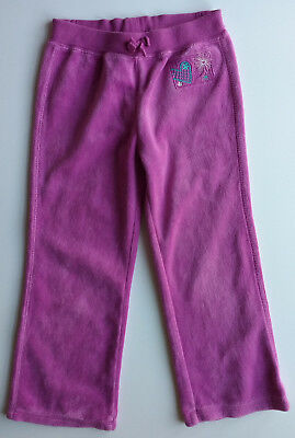 Pinky-purple stretch velour trousers, 4-5 years, good condition