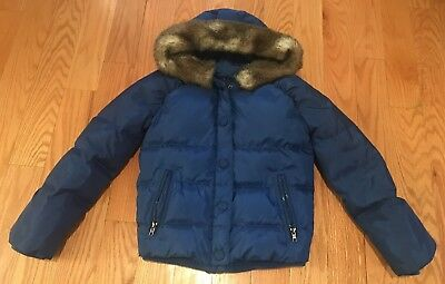 Juicy Couture Girls Kids Children Winter Jacket With Faux Fur Hood. Blue. Sz 10.