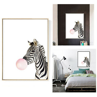 Kawaii Animal zebra Nordic Canvas Painting Art Print Poster Wall Picture Ro Z7L5