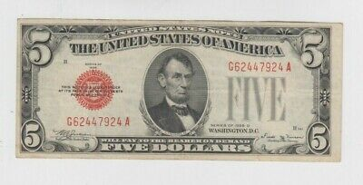 United states note $5 1928-D vf rare series
