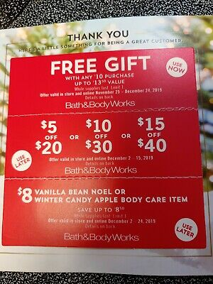 3 Bath & Body Works Coupons (1) Gift & 5 or 10 or 15 off a Purchase & $8 item