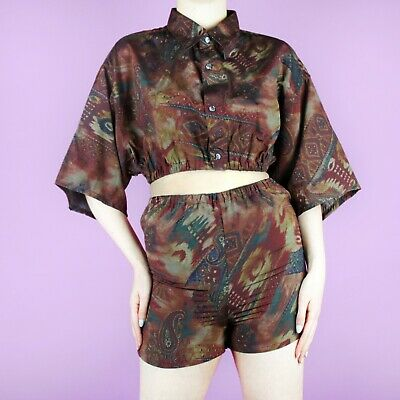VINTAGE Rework Pattern 90s Brown Boho Paisley Two Piece Shirt Top Shorts XS 6
