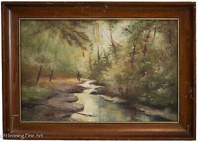 Antique American Landscape Painting 19th Century East Coast by C.E. Corliss 3/3
