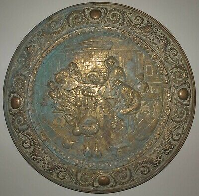 Huge Antique English Brass Repousse Round Wall Plaque Art Industrial Salvage