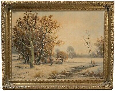 Antique European Winter Landscape Oil Painting on Canvas, Snowy River, Signed