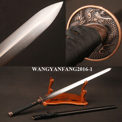 Japanese Straight Sword Carbon Steel Double Edged Blade Flying Dragon Mountings