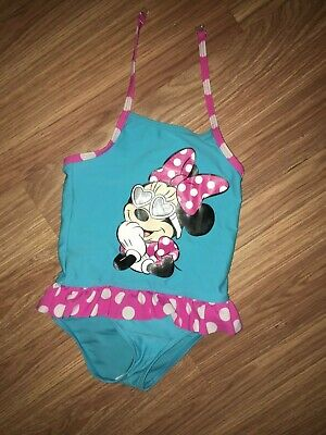 Marks & Spencer Girls 2-3 Years Minnie Mouse Blue/Pink Swimming Costume (Ex)