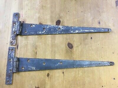 """20"""" Pair Of Salvaged Old Wrought Iron T Strap Door Hinges"""