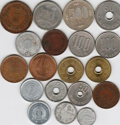 19 different world coins from JAPAN