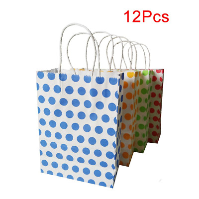 Paper Party Bags with Handles, Medium Coloured Dot Gift Bags for Birthday, 12Pcs