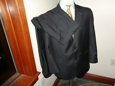 Jos A Bank Signature Gold Mens Suit 43R 37X30 Charcoal Gray Pinstripe