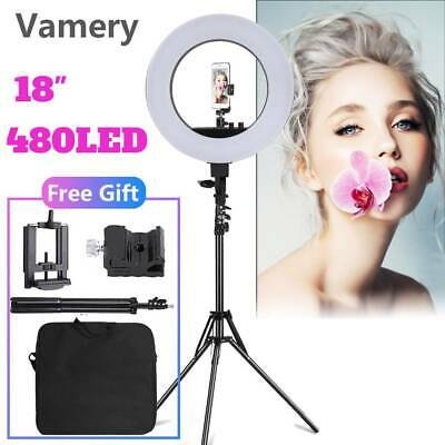 """18"""" LED Ring Light Selfie Make Up Photo Video Dimmable with Stand Carry Bag Kit"""