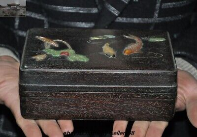 """7"""" Old Chinese Dynasty Palace Rosewood Wood inlay shell Lotus Fish Jewelry Box"""