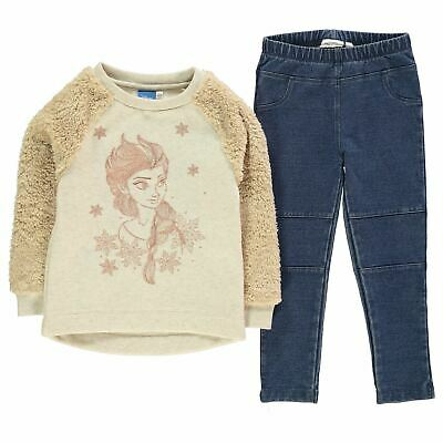 Frozen 2 Piece Jeggings Sweater Set Girls Character Wear Yellow/Blue Pants Top