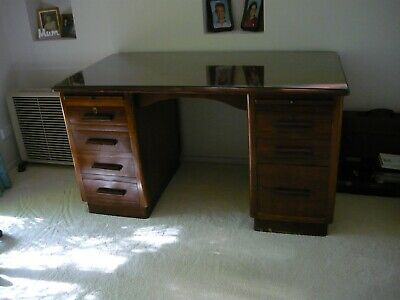 Vintage solid wood desk with glass top