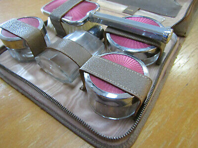 1920's 1950's leather VINTAGE TRAVEL DRESSING TABLE SET PERFUME BOTTLES luggage