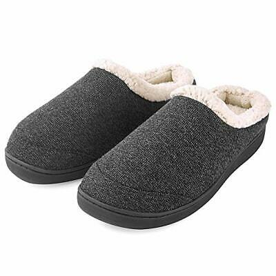 Men's Slippers Fuzzy Wool Fleece Lining Warm Slip On House Shoes Memory Foam