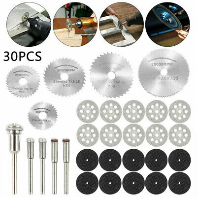 30x Diamond Cutting Discs Wheel Saw Blades Set+Drill Bit For Dremel Rotary Tool