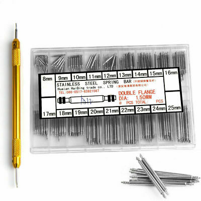 Watchmaker Watch Band Spring Bars Strap Link Pins +Remover Steel Repair Kit Set