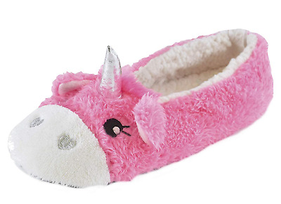 M/&S PINK UNICORN SLIPPERS WITH FACE ON FRONT /& HORN WITH FUR IN SILVER//PINK-BNWT