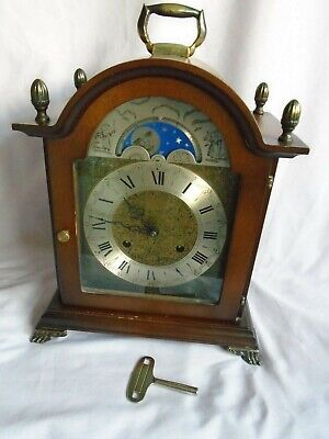 Vintage Franz Hermle Striking Moonphase Mantel Clock Movement 130-020 + Key