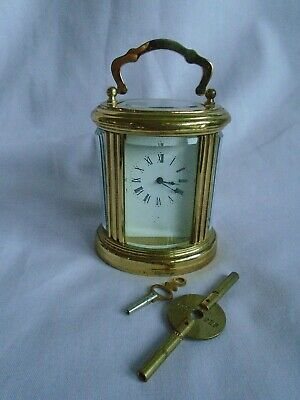 L'epee ? 8 Day Miniature Oval Carriage Clock + Keys In Excellent Condition
