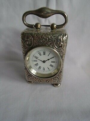 Antique Miniature Silver Carriage Clock W/French Movement Serviced August 2019