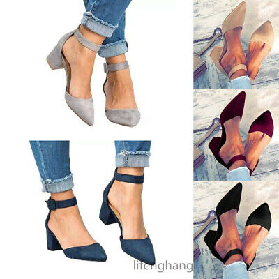UK Women Block Heels Ankle Strap Sandals Ladies Point Toe Work Casual Shoes NEW