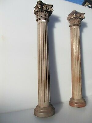 """Decorative Wooden Carved Columns Antique STYLE Greek Roman Stands Pair 33""""H"""