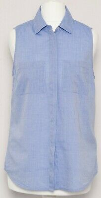 BODEN Light Blue Cotton Sleeveless Button Front Office Work Shirt Blouse Size 8