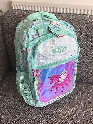 🥰 Smiggle Unicorn Believe Backpack BAG Girls Christmas GIFT Glittery New School