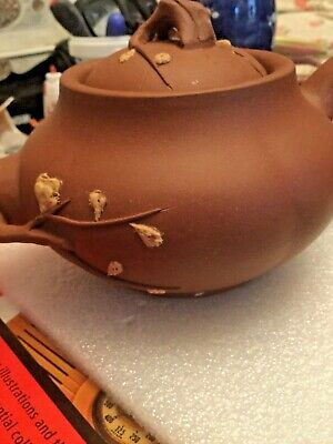 Antique Chinese Yixing Clay Teapot With Branch And Raised Leaf Design