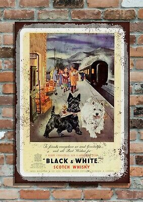 Christmas Black & White Scotch Whisky Alcohol Aged Metal Sign