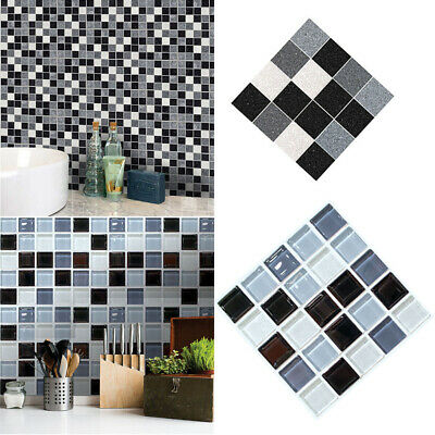 Mosaic Tile Bathroom Kitchen Stick on Wall Tiles Stickers Self-Adhesive Decors