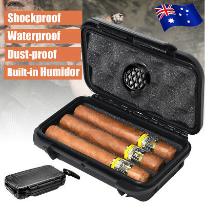 Portable Waterproof Travel Count Cigar Caddy Case Box With Humidor Humidifier