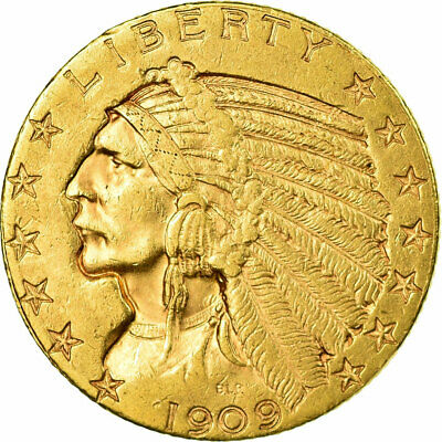 [#657233] Coin, United States, Indian Head, $5, Half Eagle, 1909, U.S. Mint