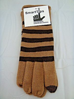 Texting Gloves Ladies Beige Brown Stripes Smart Phone Touch Screen One Size